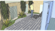 Vue 3D  de la terrasse de la véranda